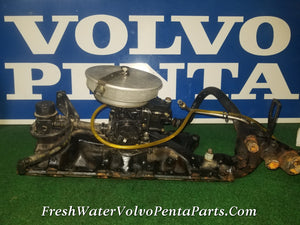 Volvo Penta Ford Holly 2 Barrel Carburetor intake & Fuel Line 5.0FL Motorcraft V8