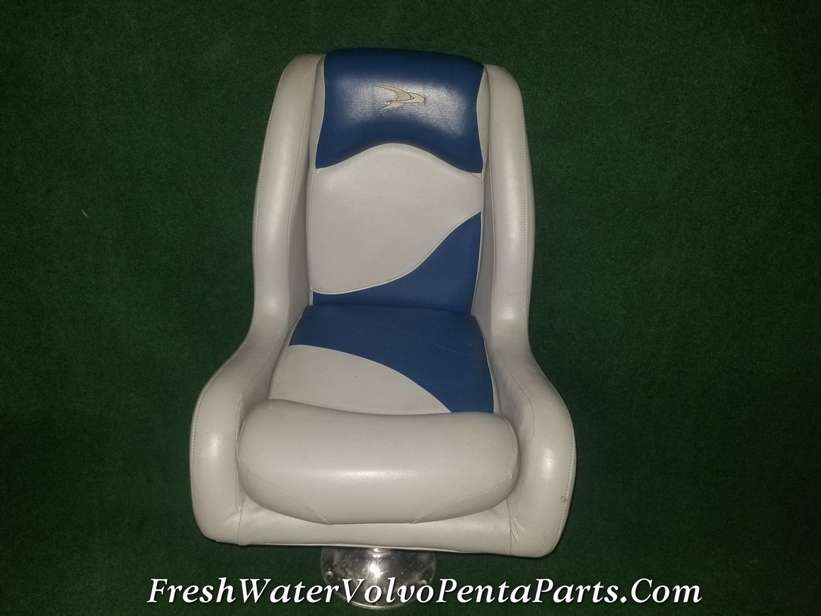 High Back Blue and Gray Boat Seat Captains chair with Pedestal Wise Attwood Gen 3