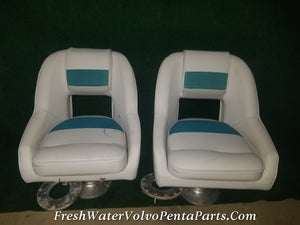 2 Regal Low Back boat seats on Low adjustable Aluminum Pedestal mounts
