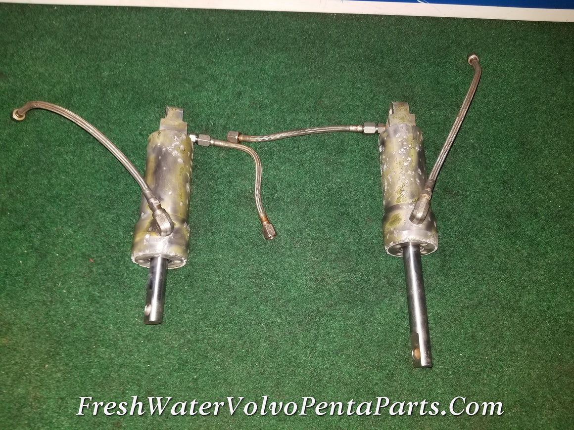 Rare Volvo Penta 280PT 280 PT 280 power Trim Cylinders w Trim Lines Port and Starboard