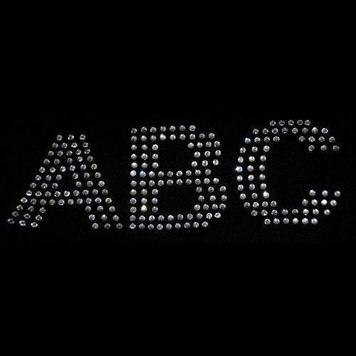 2 inch Rhinestone Letters - Iron on transfer (arial-s) Many colors available GetTShirty