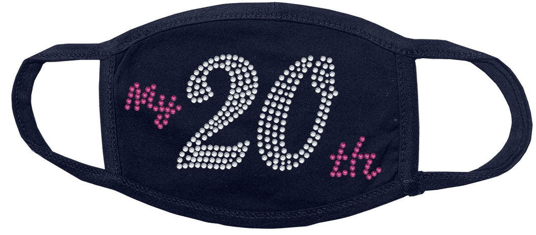 20th Birthday Rhinestone Face Mask gettshirty
