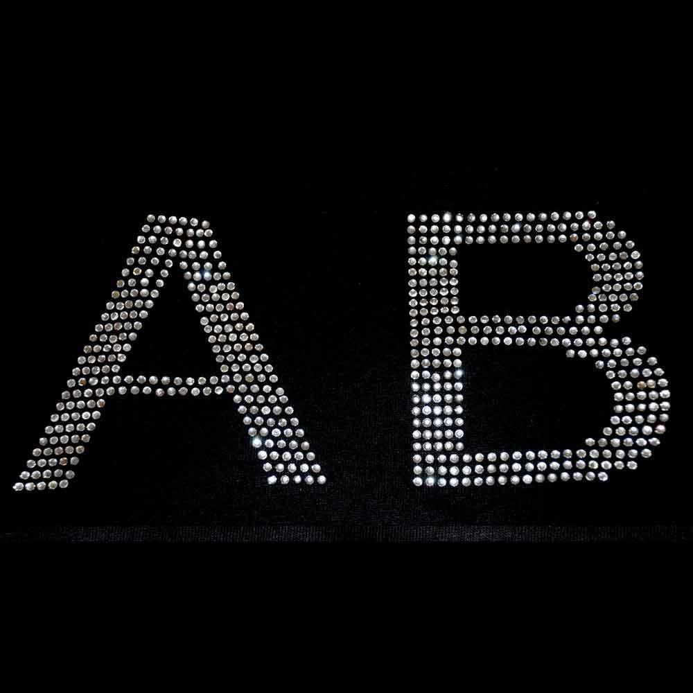 4 inch Rhinestone Letters & Numbers - Iron on transfer (arial-s) Many colors available gettshirty