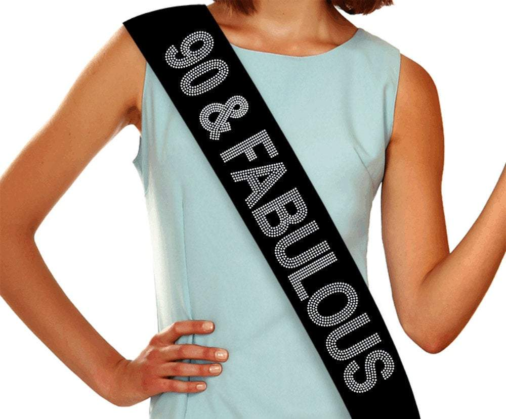 90 & Fabulous Rhinestone Birthday Sash GetTShirty