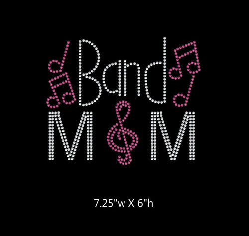 Band Mom with Music Notes DIY Iron On Rhinestone Transfer BLING 2-color GetTShirty