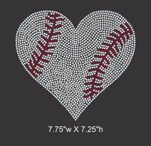 Load image into Gallery viewer, Baseball Heart Rhinestone Transfer (Large size) GetTShirty