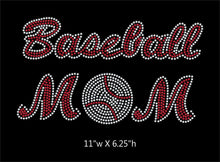 Load image into Gallery viewer, Baseball Mom - 2 color iron on rhinestone transfer gettshirty