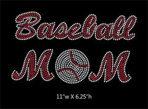 Baseball Mom - 2 color iron on rhinestone transfer gettshirty