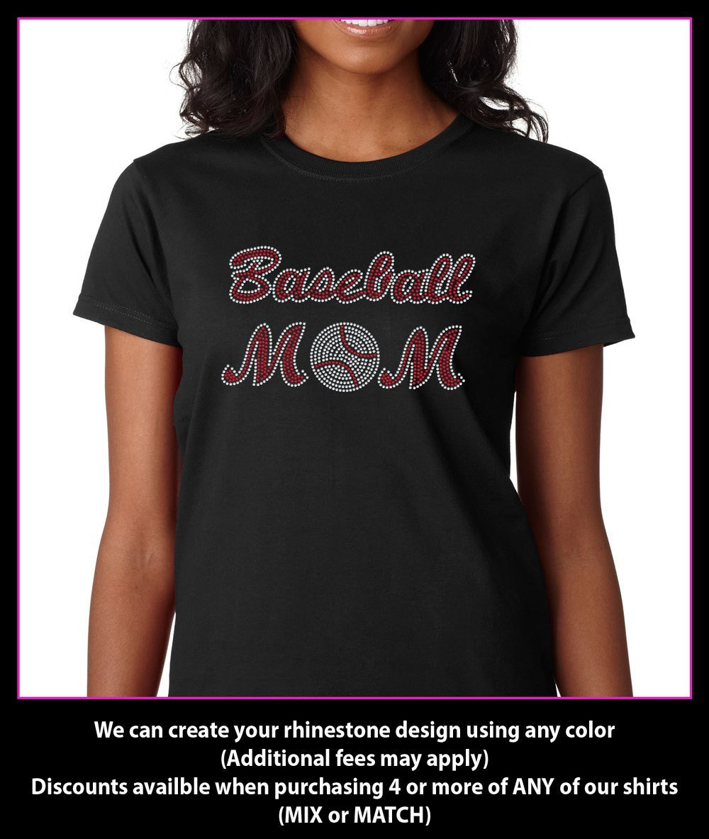 Baseball Mom Rhinestone t-shirt Bling (BM03) GetTShirty