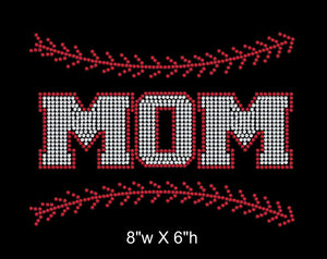 Baseball Mom with Stitching Iron on Rhinestone Transfer (BM02) GetTShirty