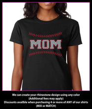 Load image into Gallery viewer, Baseball Mom with stitching Rhinestone t-shirt GetTShirty