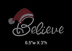 Believe Christmas Theme Iron On Rhinestone Transfer GetTShirty
