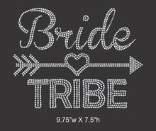 Load image into Gallery viewer, Bride Tribe - Iron on rhinestone transfer, Bridal Entourage, Bachelorette party GetTShirty