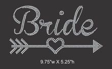 Load image into Gallery viewer, Bride w/heart and arrow Iron on rhinestone transfer, Bridal Entourage, Bachelorette party GetTShirty