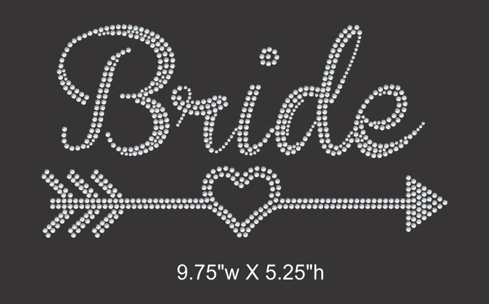 Bride w/heart and arrow Iron on rhinestone transfer, Bridal Entourage, Bachelorette party GetTShirty