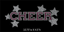 Load image into Gallery viewer, Cheer with stars - 2 color iron on rhinestone transfer GetTShirty