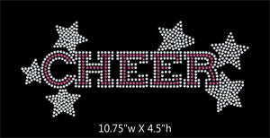 Cheer with stars - 2 color iron on rhinestone transfer GetTShirty