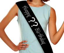 Load image into Gallery viewer, Custom Happy Birthday Rhinestone Sash - 9 colors, any age! GetTShirty