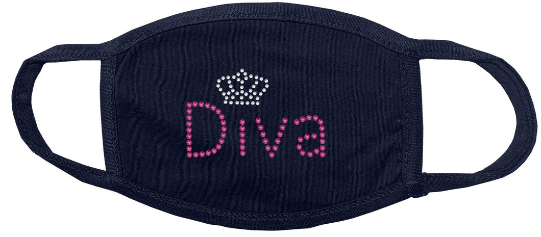 Diva with Crown Rhinestone Face Mask gettshirty
