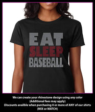 Load image into Gallery viewer, Eat Sleep Baseball Rhinestone t-shirt GetTShirty