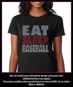 Eat Sleep Baseball Rhinestone t-shirt GetTShirty