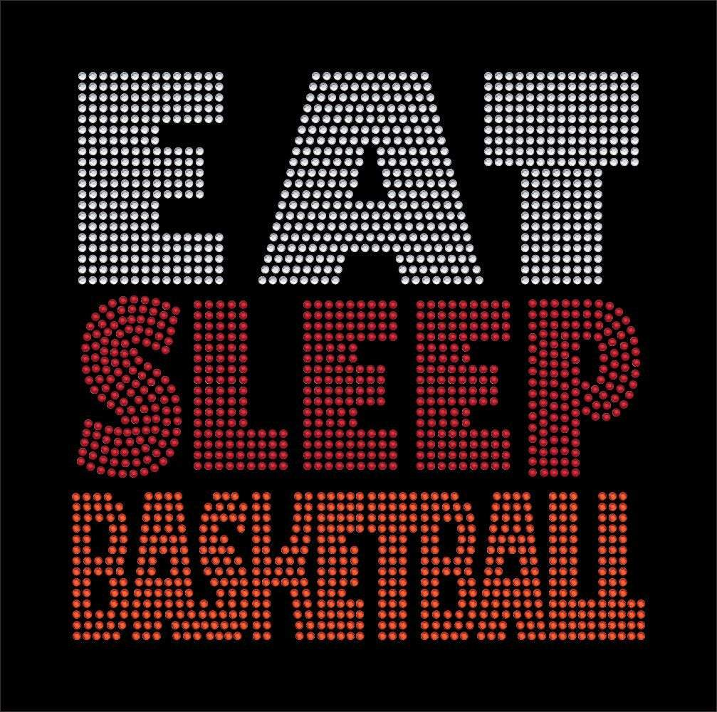 Eat Sleep Basketballl rhinestone transfer bling GetTShirty