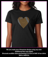 Load image into Gallery viewer, Football Heart  Rhinestone t-shirt bling (medium heart) GetTShirty