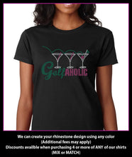 Load image into Gallery viewer, Golf A Holic Gof/Drinks  Rhinestone t-shirt GetTShirty