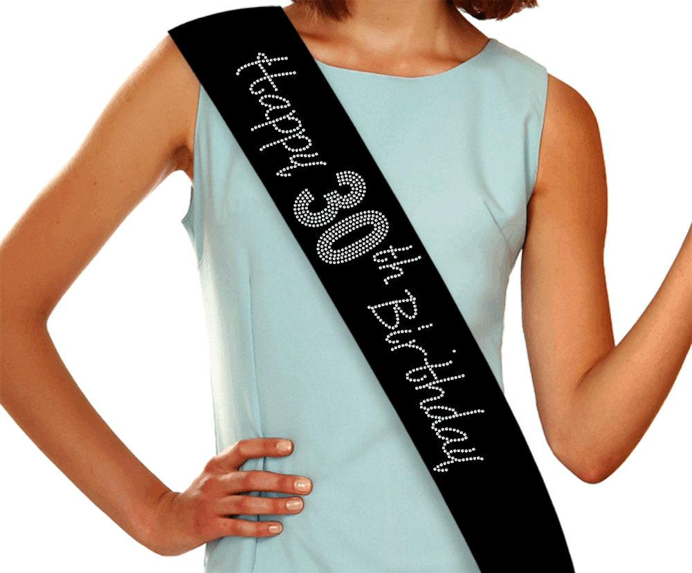 Happy 30th Birthday Rhinestone Sash, 30th Birthday - Custom Sash GetTShirty