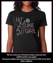 Load image into Gallery viewer, Hit Like A Girl Volleyball Rhinestone T-shirt GetTShirty
