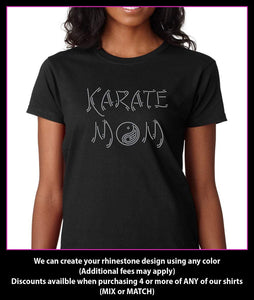 Karate Mom Rhinestone T-shirt GetTShirty