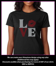 Load image into Gallery viewer, Love Lips / Kiss Square Rhinestone T-Shirt GetTShirty