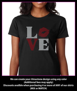 Love Lips / Kiss Square Rhinestone T-Shirt GetTShirty
