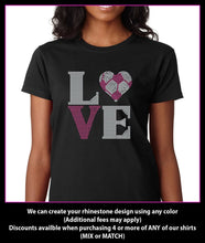 Load image into Gallery viewer, Love Soccer heart Square Rhinestone T-Shirt GetTShirty