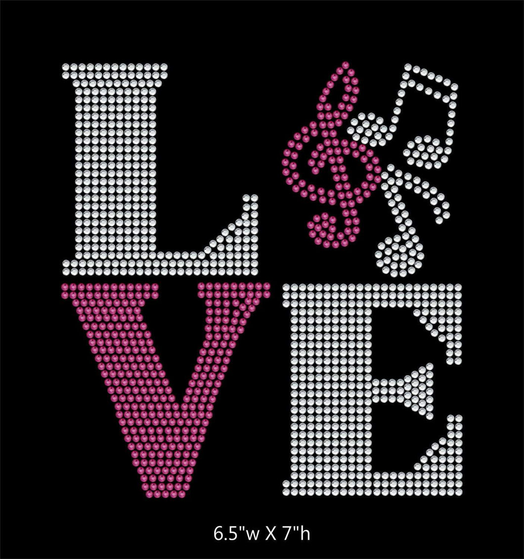 Love Square Band / Music Notes - 2 color iron on rhinestone transfer GetTShirty