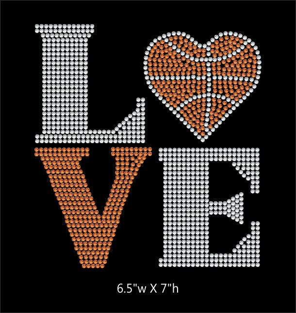 Love Square Basketball Heart - 2 color iron on rhinestone transfer GetTShirty