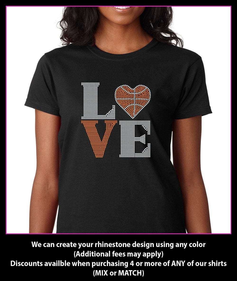 Love Square Basketball Heart Rhinestone T-shirt GetTShirty