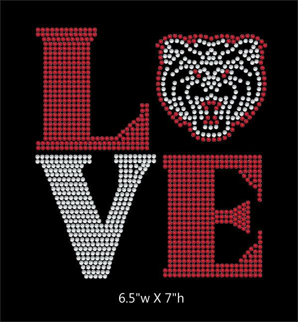 Love Square Bear mascot - 2 color iron on rhinestone transfer GetTShirty