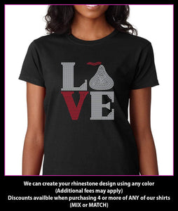 Love Square Chocolate / Hershey Kiss Rhinestone T-shirt GetTShirty