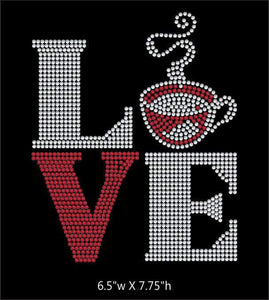 Love Square Coffee  - 2 color iron on rhinestone transfer gettshirty