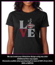 Load image into Gallery viewer, Love Square Coffee / Hot Coco / Tea / Cappaccuino   Rhinestone T-shirt GetTShirty