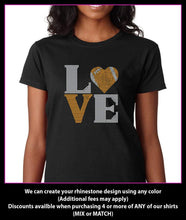 Load image into Gallery viewer, Love Square Football Heart  Rhinestone T-shirt GetTShirty