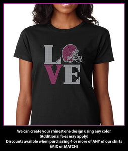 Love Square Football Square Rhinestone T-Shirt GetTShirty