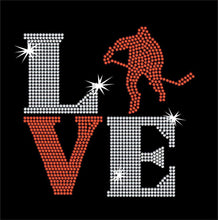 Load image into Gallery viewer, Love Square Hockey rhinestone transfer bling GetTShirty