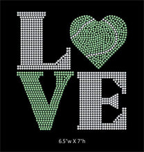 Load image into Gallery viewer, Love Square Tennis Ball Heart  - 2 color iron on rhinestone transfer GetTShirty