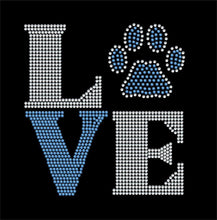 Load image into Gallery viewer, Love Square paw / wildcat rhinestone transfer GetTShirty