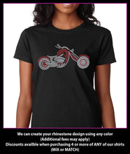Load image into Gallery viewer, Motorcycle / Chopper Rhinestone t-shirt GetTShirty