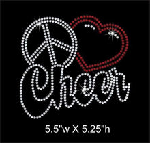 Load image into Gallery viewer, Peace Love (heart) Cheer iron on rhinestone transfer bling GetTShirty