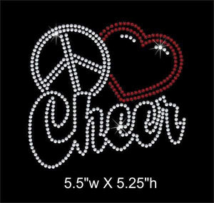 Peace Love (heart) Cheer iron on rhinestone transfer bling GetTShirty