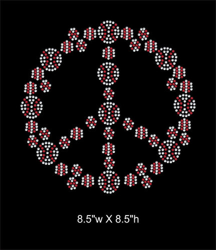 Peace sign filled with baseballs Iron on Rhinestone Transfer Bling GetTShirty